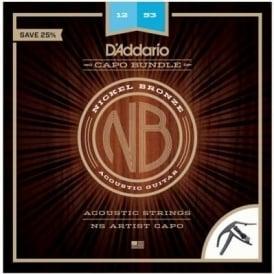 D'Addario NB1253 Acoustic Guitar Strings and NS Artist Capo Bundle