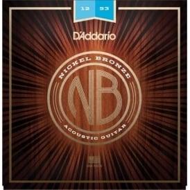 D'Addario NB1253 Nickel Bronze Acoustic Guitar Strings, Light, 12-53 Gauge