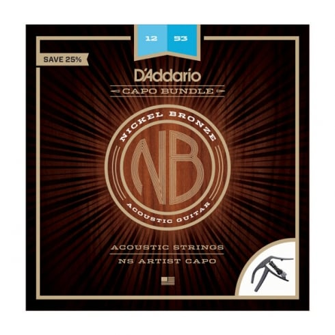 D'Addario NB1253 Nickel Bronze Acoustic Strings 12-52 Light w/ NS Artist Capo