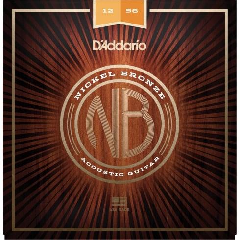 D'Addario NB1256 Nickel Bronze Acoustic Guitar Strings, Light-Medium, 12-56 Gauge