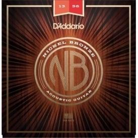 D'Addario NB1356 Nickel Bronze Acoustic Guitar Strings, Medium, 13-56 Gauge