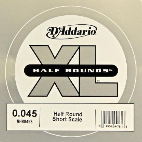 D'Addario NHR045S Nickel Half Round XL Bass Single String .045 Short Scale