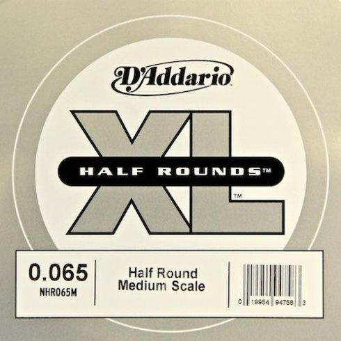 D'Addario NHR065M Nickel Half Round XL Bass Single String .065 Medium Scale