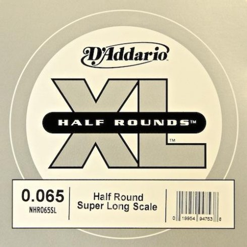 D'Addario NHR065SL Nickel Half Round XL Bass Single String .065 Super Long Scale