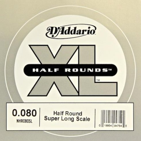 D'Addario NHR080SL Nickel Half Round XL Bass Single String .080 Super Long Scale