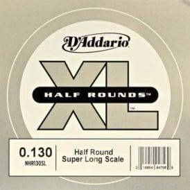 D'Addario NHR130SL Nickel Half Round XL Bass Single String .130 Super Long Scale