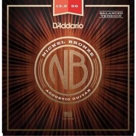 D'Addario Nickel Bronze Acoustic Guitar Strings 13.5-56 Balanced Tension