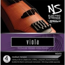 D'Addario NS410 NS Electric Viola String Set, Long Scale, Medium Tension