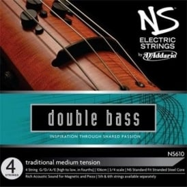 D'Addario NS610 NS Traditional Electric Double Bass Strings GDAE, 3/4 Scale, Medium Tension