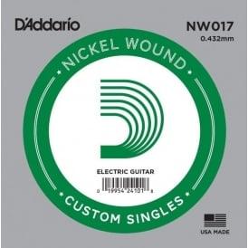 D'Addario NW017 Nickel Wound Electric Guitar Single String .017 Gauge
