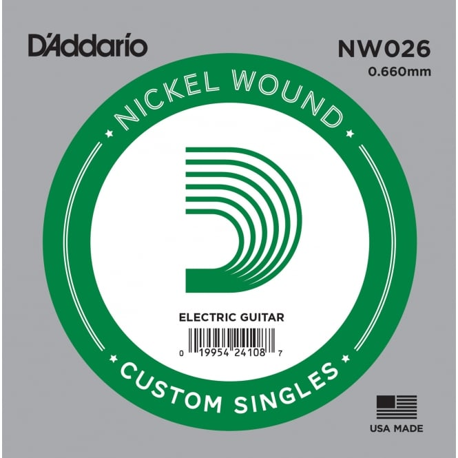 D'Addario NW026 Nickel Wound Electric Guitar Single String .026 Gauge