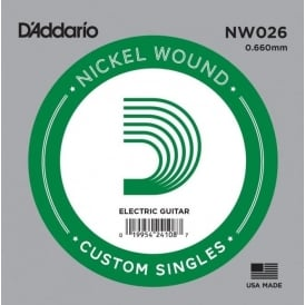 D'Addario NW026 Nickel Wound Electric Guitar Single String .026 Gauge