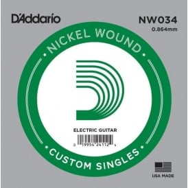 D'Addario NW034 Nickel Wound Electric Guitar Single String .034 Gauge