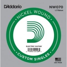 D'Addario NW070 Nickel Wound Electric Guitar Single String .070 Gauge