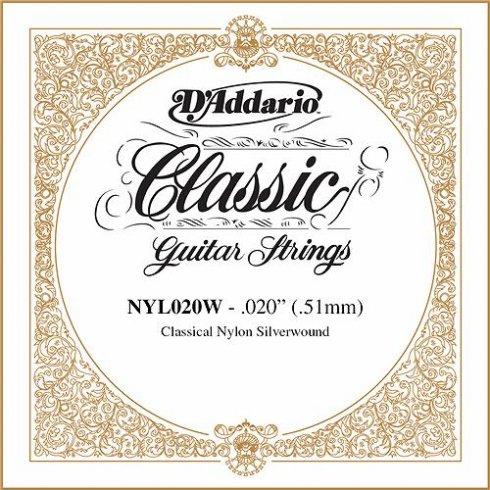 D'Addario NYL020W Silverplated Wound on Nylon Single String .020