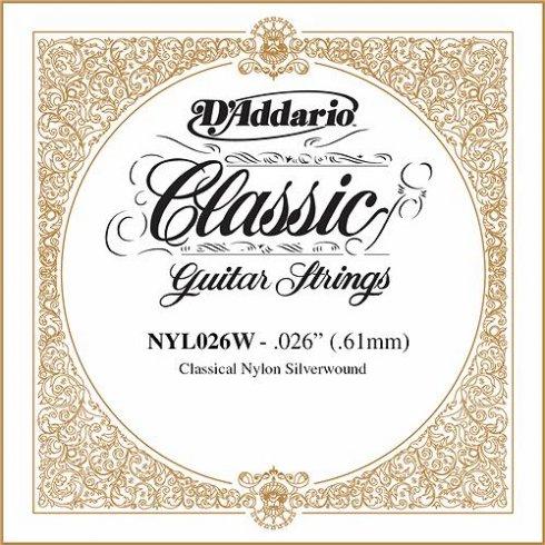 D'Addario NYL026W Silverplated Wound on Nylon Single String .026