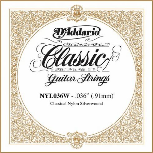 D'Addario NYL036W Silverplated Wound on Nylon Single String .036