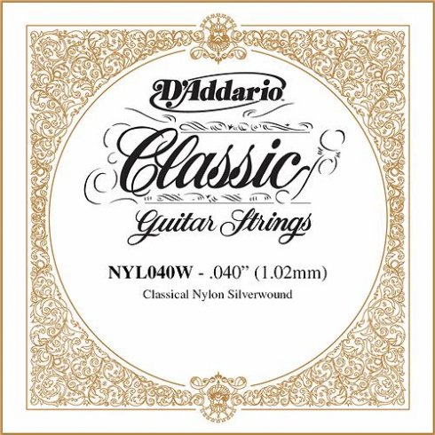 D'Addario NYL040W Silverplated Wound on Nylon Single String .040