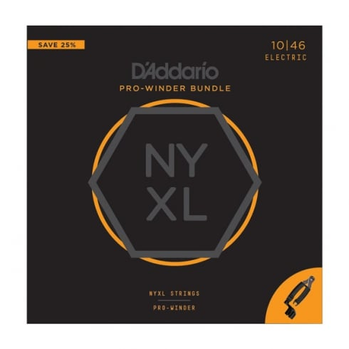 D'Addario NYXL Premium Electric Strings with Planet Waves Pro Winder