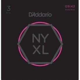 D'Addario NYXL0942-3p Nickel Guitar Strings 9-42 Super Light, 3-Pack