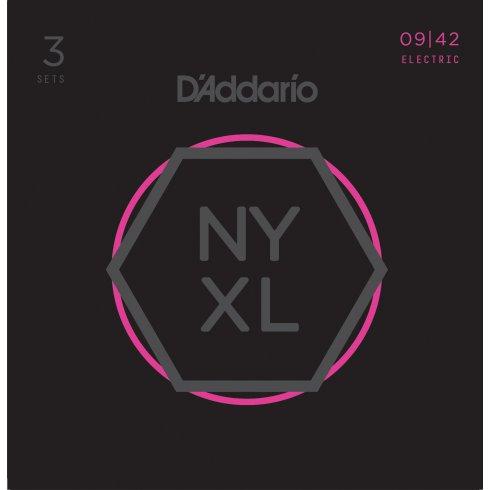 D'Addario NYXL0942-3p Nickel Wound Electric Guitar Strings 09-42 Super Light, 3-Pack
