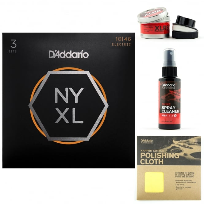 D'Addario NYXL1046-3P Nickel Guitar Strings 10-46 Light 3-Pack + Care Kit