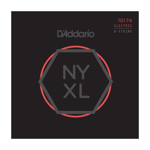 D'Addario NYXL1074 Nickel Wound 8-String Electric Guitar Strings, Light Top / Heavy Bottom, 10-74