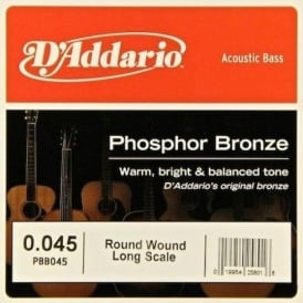 D'Addario PBB045 Phosphor Bronze Wound Bass Single String .045 Long Scale