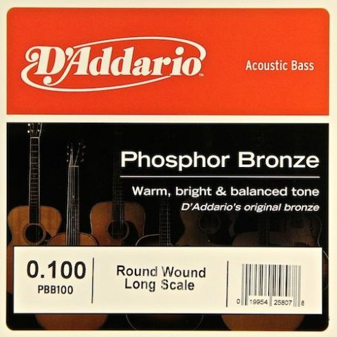D'Addario PBB100 Phosphor Bronze Wound Bass Single String .100 Long Scale