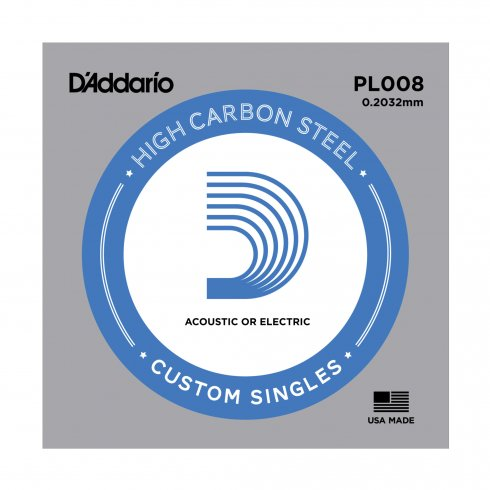 D'Addario PL008 Plain Steel Ball End Single String .008