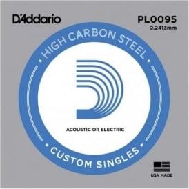 D'Addario PL0095 Plain Steel Ball End Single String .0095