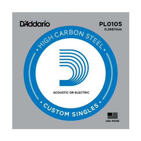 D'Addario PL0105 Plain Steel Ball End Guitar Single String .0105