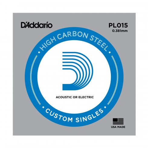 D'Addario PL015 Plain Steel Ball End Guitar Single String .015