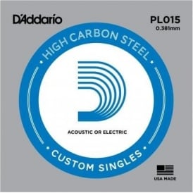 D'Addario PL015 Plain Steel Ball End Guitar Single String .015