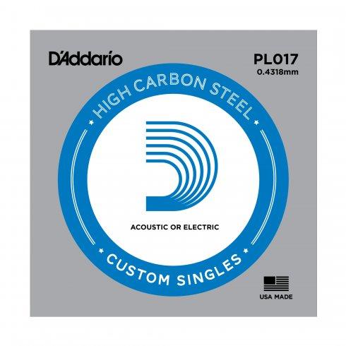 D'Addario PL017 Plain Steel Ball End Guitar Single String .017