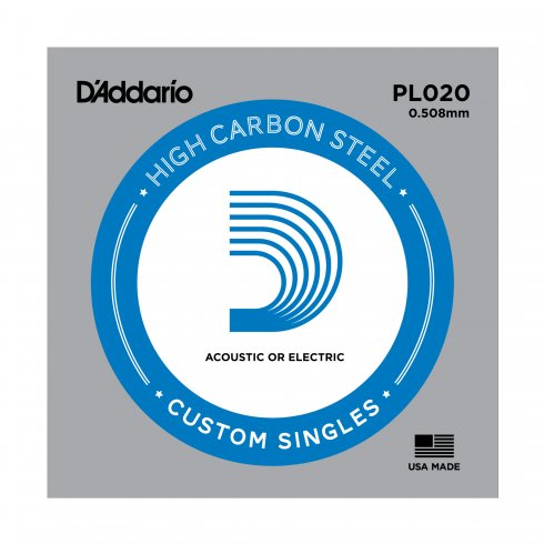 D'Addario PL020 Plain Steel Ball End Guitar Single String .020