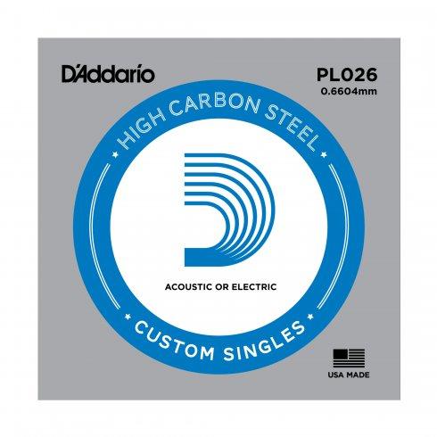 D'Addario PL026 Plain Steel Ball End Guitar Single String .026