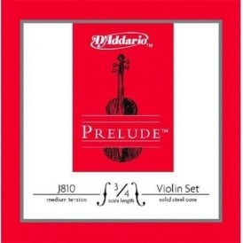 D'Addario Prelude Medium Tension 3/4 Size Violin Strings J810-3/4M Full Set