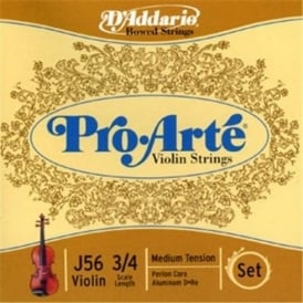D'Addario Pro Arte Violin 3/4 Scale / Medium Tension