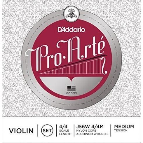 D'Addario DAddario Pro-Arte Wound E 4/4 Scale Medium Tension Violin String Set J56W