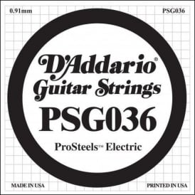 D'Addario PSG036 Stainless Steel Wound Single Electric Guitar String .036 Gauge