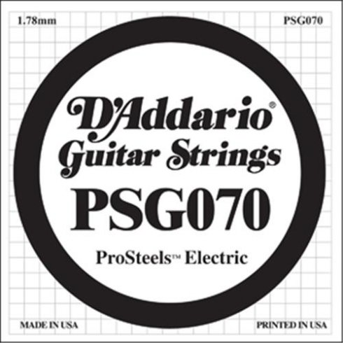 D'Addario PSG070 Stainless Steel Wound Single String .070 for Electric Guitar