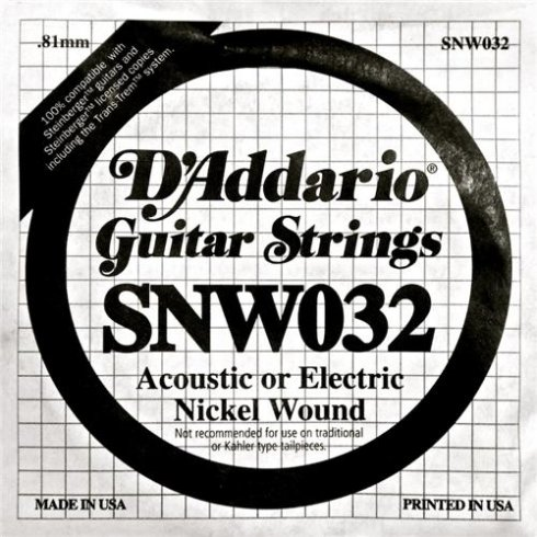D'Addario SNW032 Nickel Wound Double Ball End Single String .032