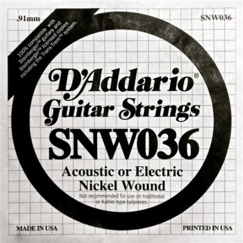 D'Addario SNW036 Nickel Wound Double Ball End Single String .036