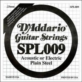 D'Addario SPL009 Steinberger Double Ball End Plain Steel Single String .009