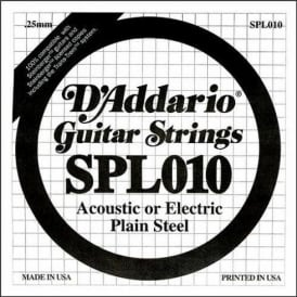 D'Addario SPL010 Steinberger Double Ball End Plain Steel Single String .010