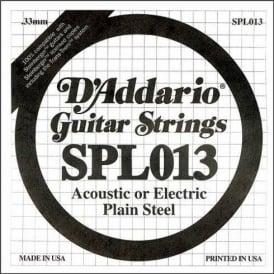 D'Addario SPL013 Steinberger Double Ball End Plain Steel Single String .013