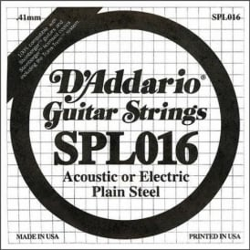 D'Addario SPL016 Steinberger Double Ball End Plain Steel Single String .016