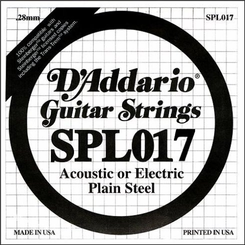 D'Addario SPL017 Steinberger Double Ball End Plain Steel Single String .017
