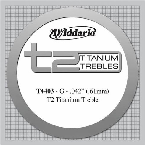D'Addario T4403 T2 Titanium Extra Hard Tension Single String 3rd G-String
